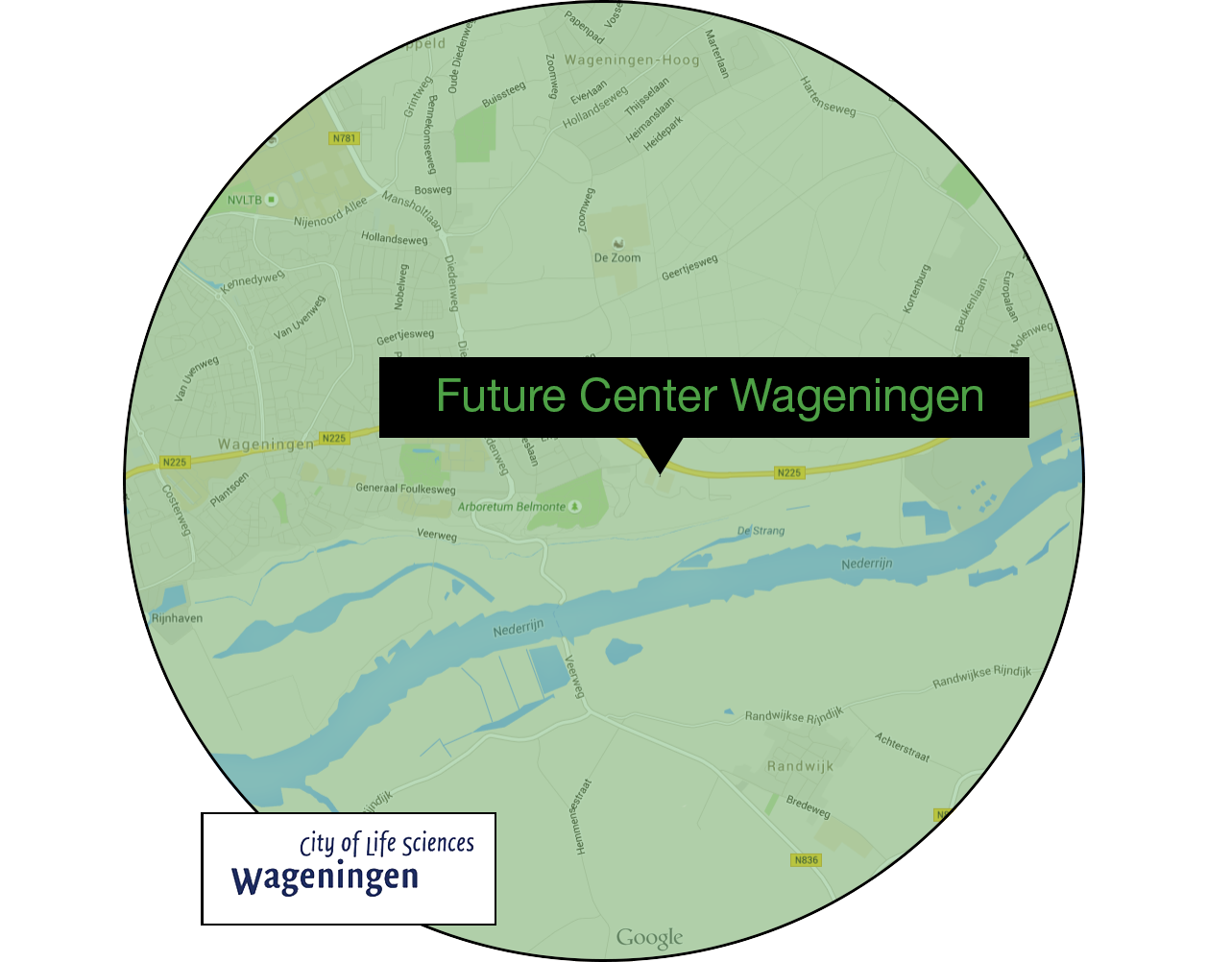 Ligging future center wageningen